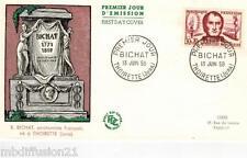 1959**ENVELOPPE,FDC 1°JOUR!!**XAVIER BICHAT-THOIRETTE.JURA**TIMBRE Y/T 1211