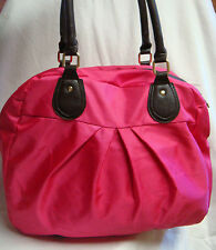 NWOT HOT PINK Fabric w/Brown LeatheretteTrim EX-LARGE HANDBAG / TOTE by ION
