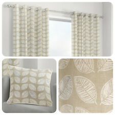 Fusion DELFT Natural Beige Leaf Patterned 100% Cotton Eyelet Curtains & Cushions