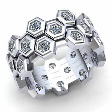 Haxagon Wedding Eternity Band 10K Gold Natural 1 Ct Round Cut Diamond Ladies