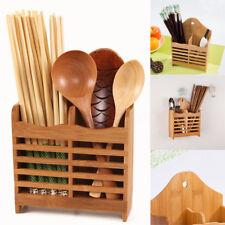 Bamboo Cutlery Storage Holder Spoon Chopsticks Kitchen Organizer Drying Rack
