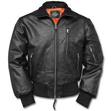 BW Fliegerjacke Pilotenjacke Retro Lederjacke Real Leather Jacket Gr. 56 schwarz