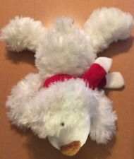 """Ganz Laying White Bear Named Colby with Red Scarf 9"""""""