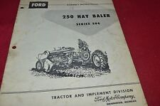 Ford Tractor 250 Baler Assembly Instructions Manual Chpa