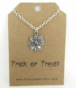 """""""Trick or Treat"""" Spiderweb Spider Silver Plated Message Card Necklace Gift New"""