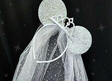 DISNEY HEN PARTY MINNIE BRIDE TO BE MINNIE EARS SILVER TIARA VEIL HEN  NIGHT FUN