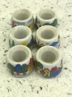 Vintage~Funny Designs~Tiny German Bisque Houses Taper Candle Holders~MOD (6)