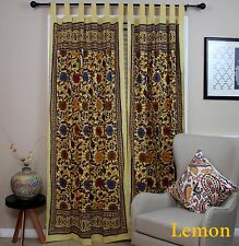 Sunflower Tab Top Cotton Curtain Drape Door Panel Window Lemon Yellow 44x88 inch