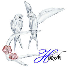 Swallows : Clear Crystal Birds On Flowered Branch 2019 Swarovski Crystal 5475566