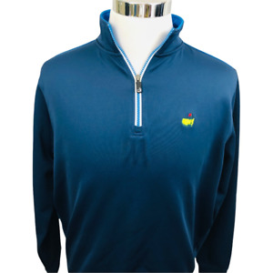 Masters Tech Mens Pullover Golf Jacket Blue 1/4 Zip Embroidered Long Sleeve M
