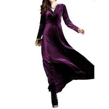 Women V Neck Prom Dress Long Sleeve Velvet Formal Party Evening Maxi Dresses Hot
