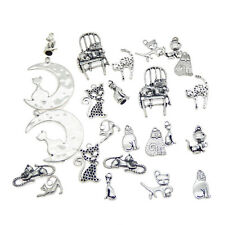 24pcs Multi-Styles Cute Cat Shape Charms Pendant Accessories for Jewelry Making