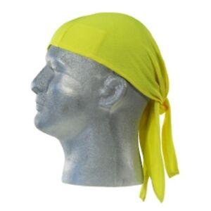 Hi Viz Safety Yellow Lime Doo Rag Skullcap Biker Doo Rag  Bandana Wrap 3 panel