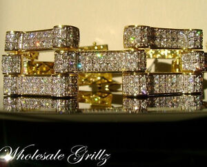 AMAZING! $369 MENS 14K GOLD GP SIMULATE DIAMOND ICE LAB HIP HOP BRACELET sz 8.5""