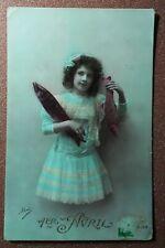 Antique IRIS Colored photo postcard 1907s Belle Girl lace dress Red fish April 1