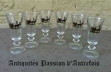 B20150232 - 6 petits verres à liqueur de 12,5 cm en verre - Très bon état