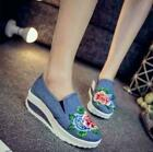 Retro Women Girls Embroidery Floral Canvas Comfort Hidden Heel Loafers Shoes Sz