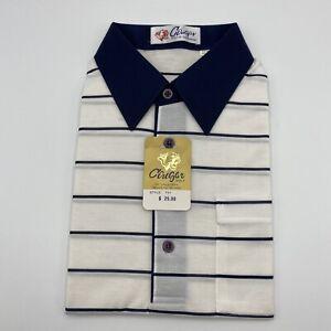 Vintage Cougar Golf Of California Short Sleeve Stripe Polo Shirt Size L Blue A5