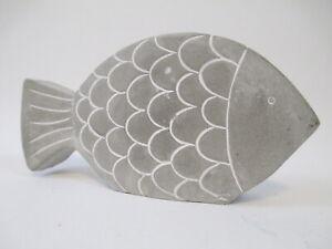 Cement Fish Art Decorative Concrete Decor Ocean Beach Lake Home 5 Inches Long