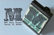 Custom Fancy Initial Monogram Address or bookplate rubber stamp by Amazing Arts