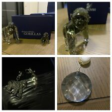 Swarovski Silver Crystal 2009 Annual S.C.S. Gorillas Set With Charms And Pendant