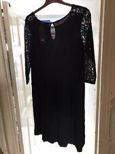 Vestido de encaje negro manga/Túnica-BNWT-tamaño 20