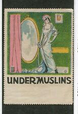 Vintage Poster Stamp Label UNDERMUSLINS Ladies underwear lingerie   #IM
