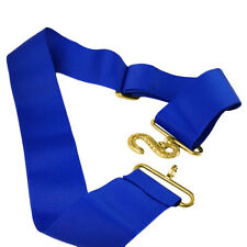 Masonic Blue Lodge Apron Belt with Gold Buckle Replaceable Accessory Royal Blue