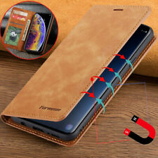 Para iPhone 5S SE 6S 7 8 Plus X Magnético Cuero Genuino Billetera Abatible Estuche Cubierta