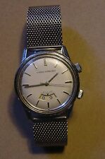 Rare Girard Perreguax 1950's Steel Alarm Watch W/ Luminous Dot Dial Sweep Second