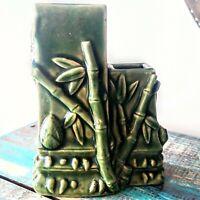 """Vintage Green Bamboo Design Double Vase Planter Decor Collectible 5.5""""×4"""""""