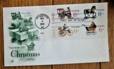 CHRISTMAS 1970 VINTAGE TOYS TRAIN BUGGY PLATE#BLOCK ARTCRAFT CACHET FDC UNADDR