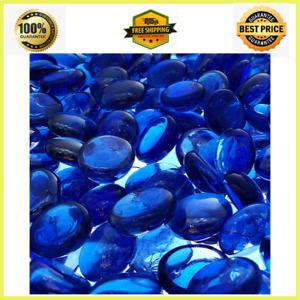 Blue Fire Pit Glass Beads Premium Fireplace Round Reflective Rocks Drops 10 lb