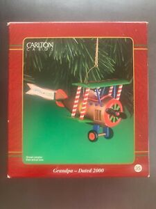 2000 Carlton Cards Grandpa Airplane Christmas Ornament. Never used as decoration