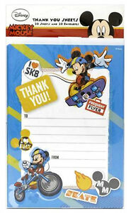 Disney MICKEY MOUSE THANK YOU Sheets 20 Pack includes Envelopes Boys Party