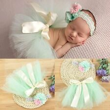 Newborn Infant Baby Bow Mesh Tutu Bubble Skirt Headband Photography Prop Hot