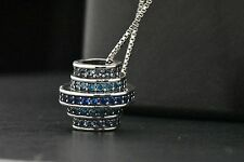 925 Sterling Silver Blue Sapphire Multi-Circle Eternity Pendant Charm Necklace