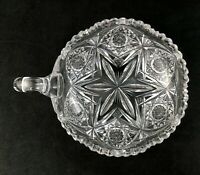 """🟢 Libbey ABP American Brilliant Cut Glass GEM Pattern 6"""" Handled Nappy - Signed"""