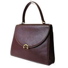 Must de Cartier Logos Hand Bag Bordeaux Leather Vintage Italy Authentic 8772 W