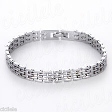 Stainless Steel Men's Punk Silver Cuff Bangle Chain Wristband Bracelet Jewelry