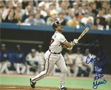 LONNIE SMITH 1989 N.L. COMEBACK PLAYER OF THE YEAR SIGNED ACTION 8X10 PHOTO COA