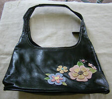 Womens Girls Black Faux Leather Floral Applique Hobo Purse Handbag 391423