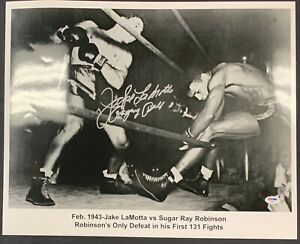Jake LaMotta vs. Sugar Ray Signed 16x20 Photo Autographed PSA/DNA Authenticated