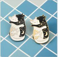 New Cat Pin Badge Kitten Black White Lapel Brooch Enamel & Metal Couples Jewelry