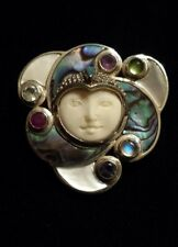 SAJEN Sterling Silver CARVED FACE Pin/Pendant ABALONE OPAL RUBY MOONSTONE & MORE