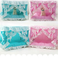 New Cute Princess Handmade Cotton Pet Dog Cat Bed House Tent Frame Bed Pink/Blue