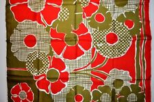 "Designer LUCIENNE Paris GREEN multi-color RED FLORAL daisy flower 30"" SILK SCARF"