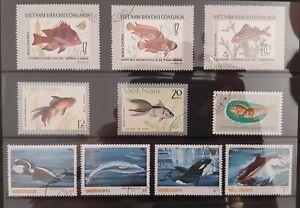 1976 & 1985 VIETNAM - Fish  10 stamps  super condition