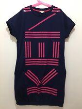 Fab Girls Designer Kenzo Navy Pink Wording Print Short Sleeve Dress 14yrs 💗💗