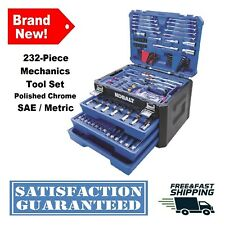 232 Pc. Mechanics Tool Set Standard SAE Metric Polished Chrome Wrench Sockets